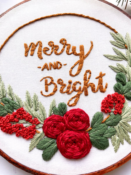Floral Half Wreath Hand Embroidery Kit (white)