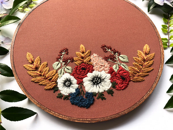 Hand Embroidery Kit -  Floral Half Wreath (rust)