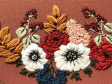 Hand Embroidery Kit -  Floral Half Wreath