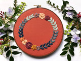 Hand Embroidery Kit for Beginners - Ombre Wreath (burnt orange)