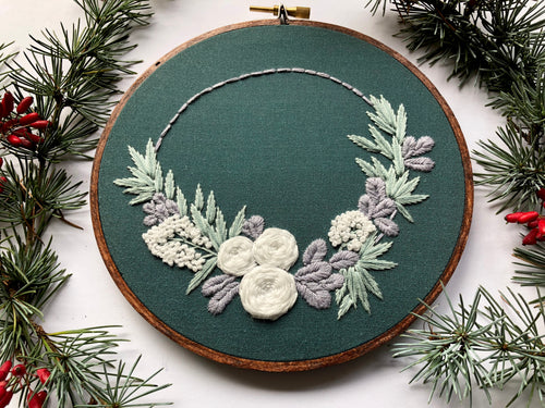 Floral Half Wreath Hand Embroidery Kit (green)