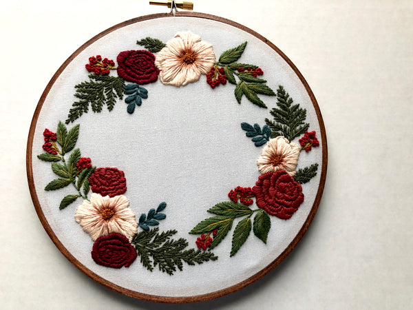 Hand Embroidery Kit - Floral Wreath (gray)