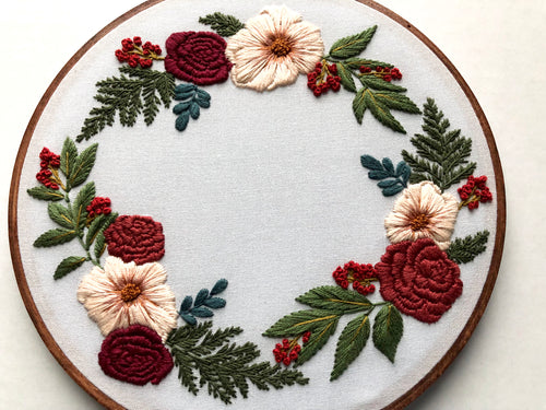 Hand Embroidery Kit - Holiday Wreath