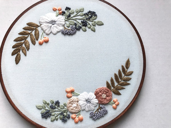 Hand Embroidery Kit - Wreath (mint)