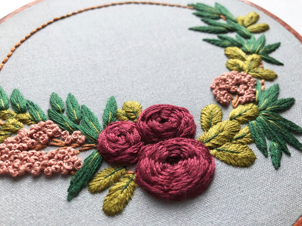 Floral Half Wreath Hand Embroidery Kit (gray)