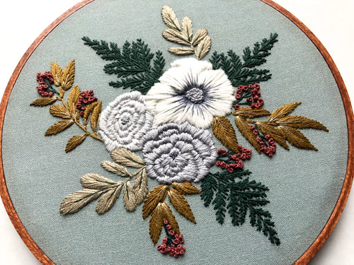 Hand Embroidery Kit - Floral Bouquet (sage)