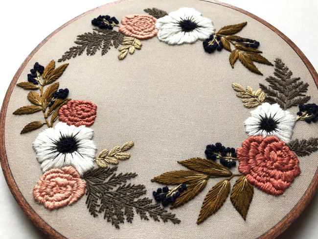 Hand Embroidery Kit - Floral Wreath (tan)