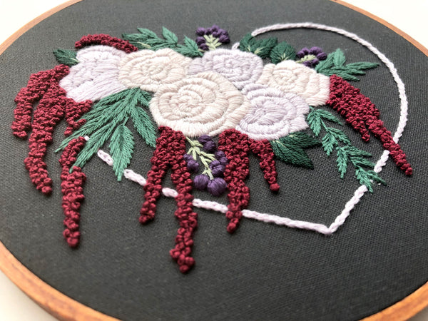 Hand Embroidery Kit - Floral Sweetheart Bouquet