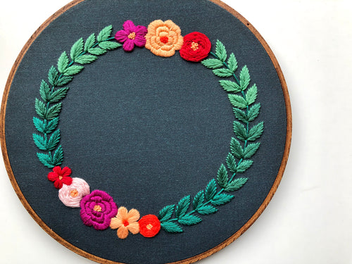 Hand Embroidery Kit for Beginners - Ombre Wreath (dark green)