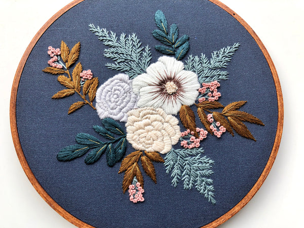 Hand Embroidery Kit - Floral Bouquet (navy)