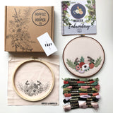 Hand Embroidery Kit -  Floral Half Wreath (cream)