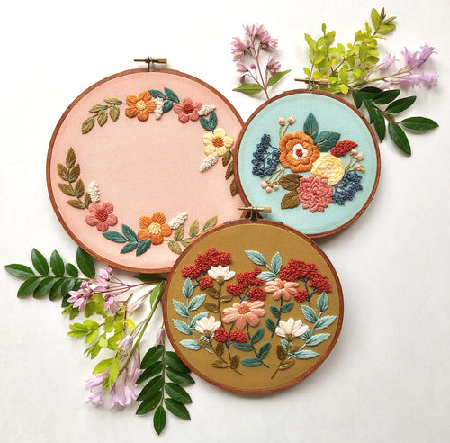 Hand Embroidery Kit - Three Designs in One Kit