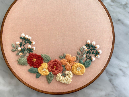 Hand Embroidery Kit - Floral Sweetheart Bouquet (dark gray)