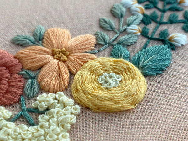 Hand Embroidery Kit for Beginners - Heather (peach)
