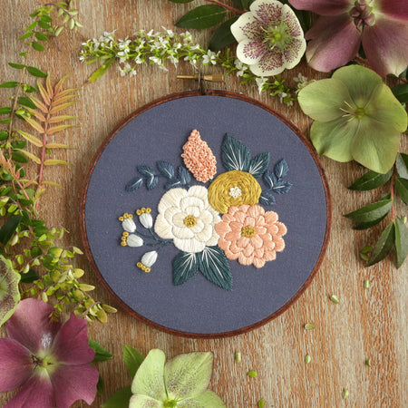 Hand Embroidery Kit for Beginners - Charlotte (blue)