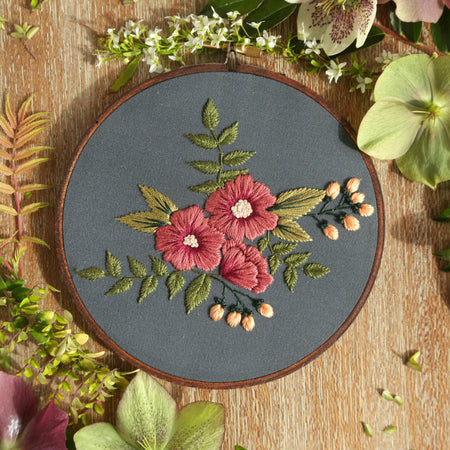 Hand Embroidery Kit for Beginners - Side Wreath (mint)