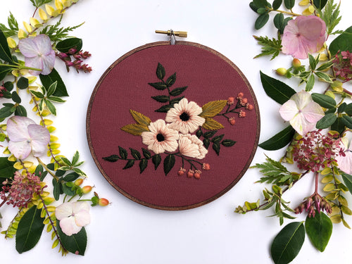 Hand Embroidery Kit for Beginners - Madelyn (deep red)