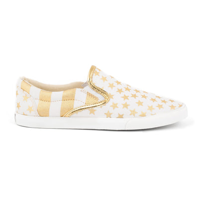 Women's Gold Stars & Stripes Slip On