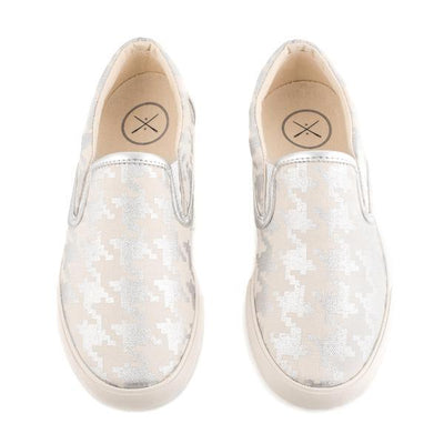 Women's Silver Houndstooth Slip On