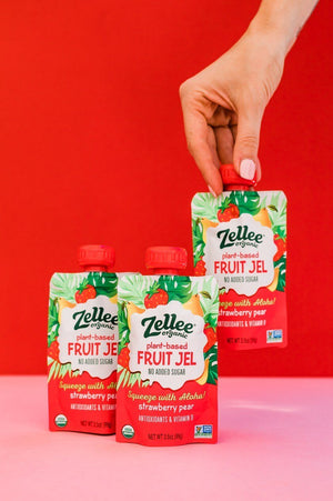 zellee organic fruit jels, strawberry pear flavor being selected