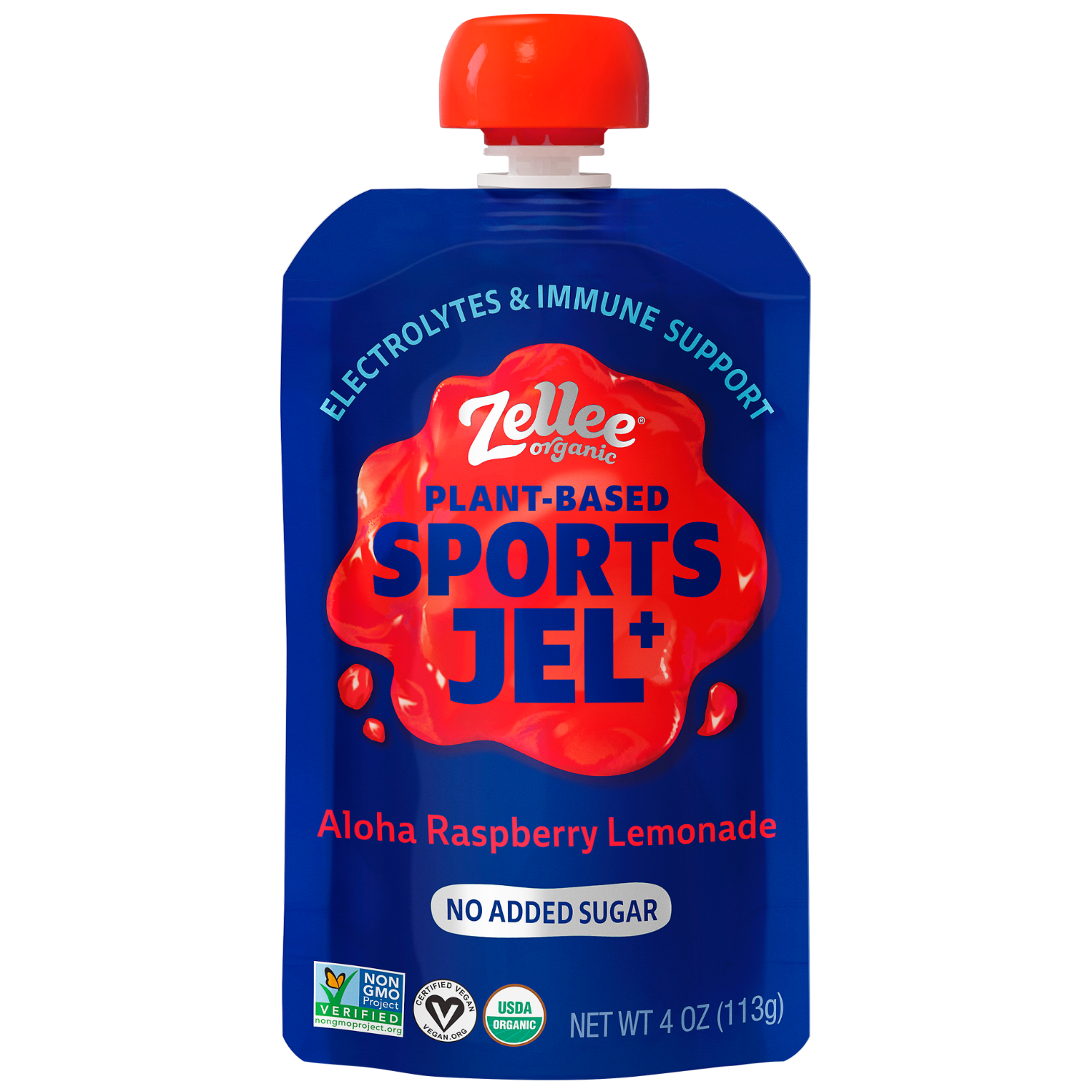 Zellee Organic Sports Jel with electrolytes in Aloha Raspberry Lemonade Flavor