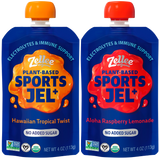 Zellee Organic Sports Jel with electrolytes in Hawaiian Tropical Twist and Aloha Raspberry Lemonade