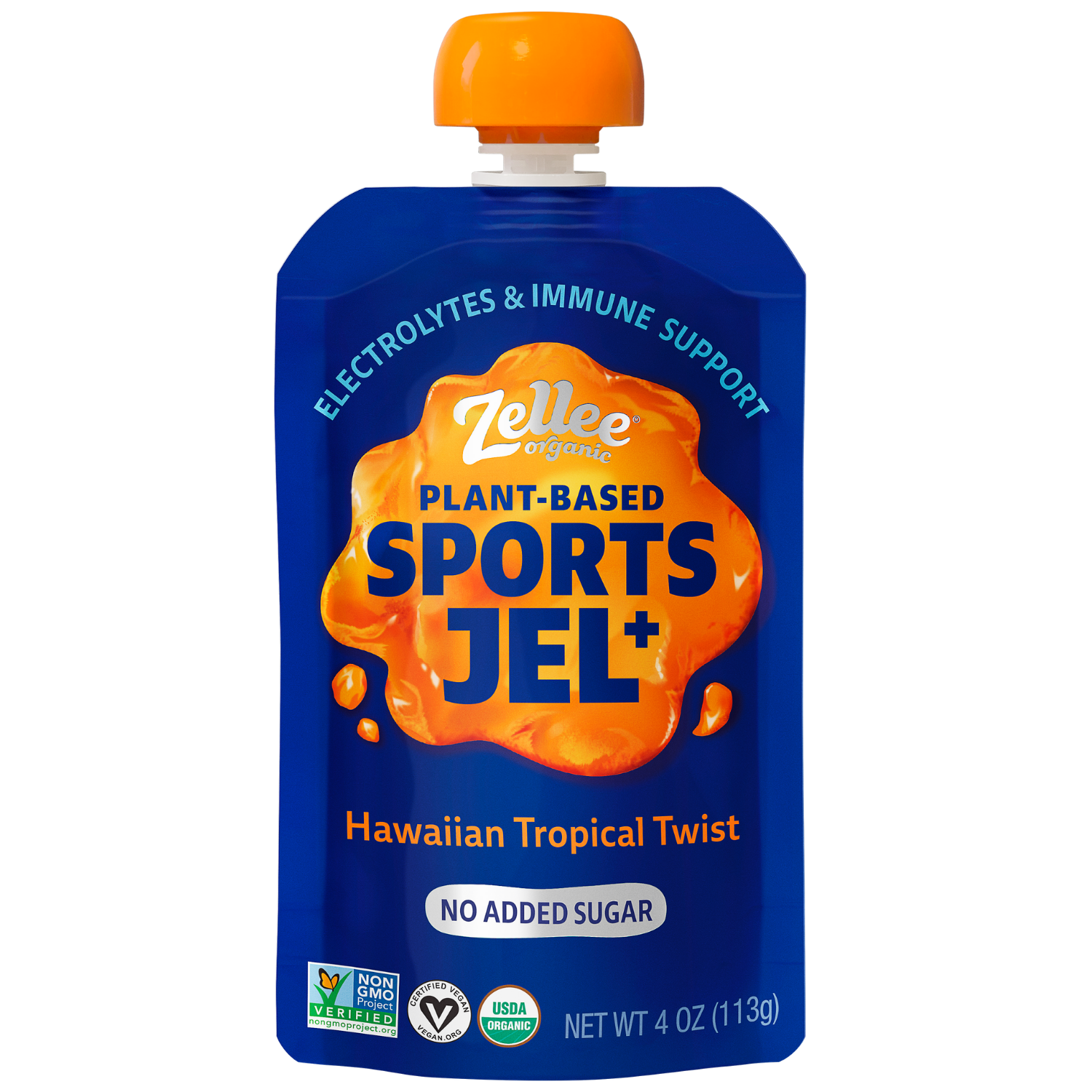 Zellee Organic Sports Jel with electrolytes in Hawaiian Tropical Twist Flavor