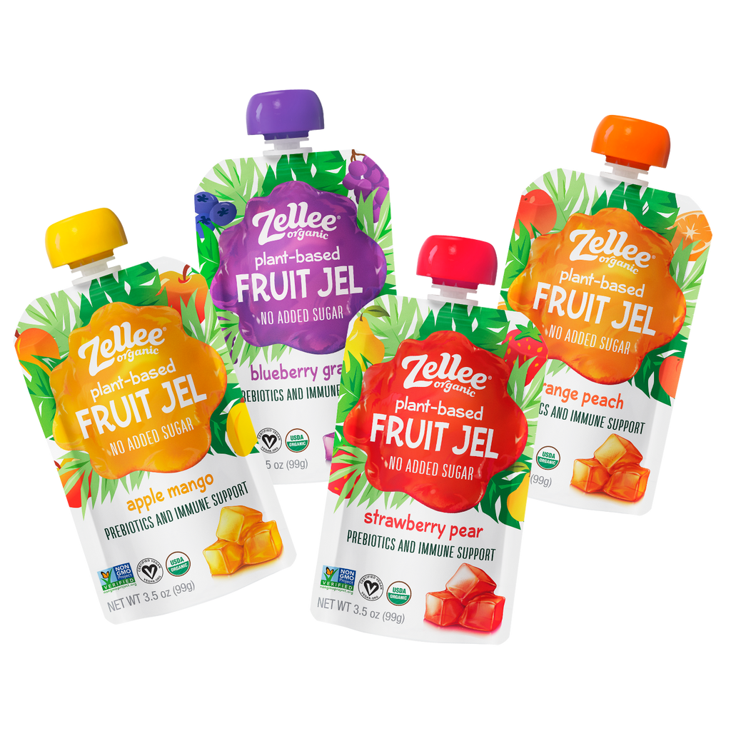 Zellee Organic Plant Based Fruit Jel in Strawberry Pear, Orange Peach, Blueberry Grape