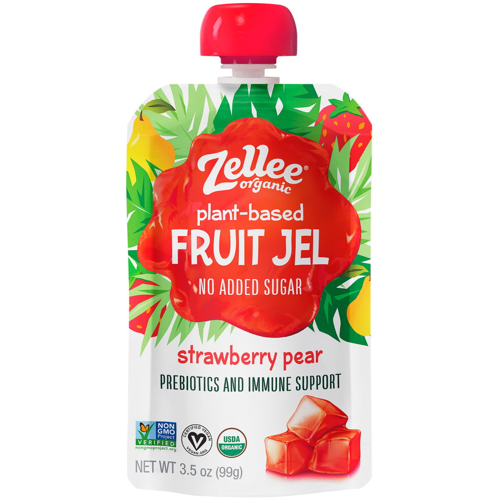 Zellee Organic Plant Based Fruit Jel Strawberry Pear Flavor