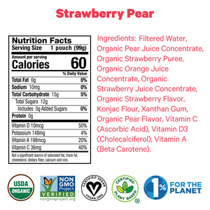 Zellee Organic Fruit Jels are certified organic, plant based, vegan, non-GMO strawberry pear ingredients