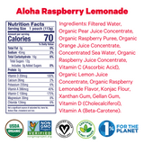 Zellee Organic Sports Jels ingredients and certifications for Aloha Raspberry Lemonade
