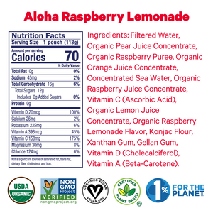 Zellee Organic Sports Jels ingredients and certifications for Hawaiian Tropical Twist and Aloha Raspberry Lemonade
