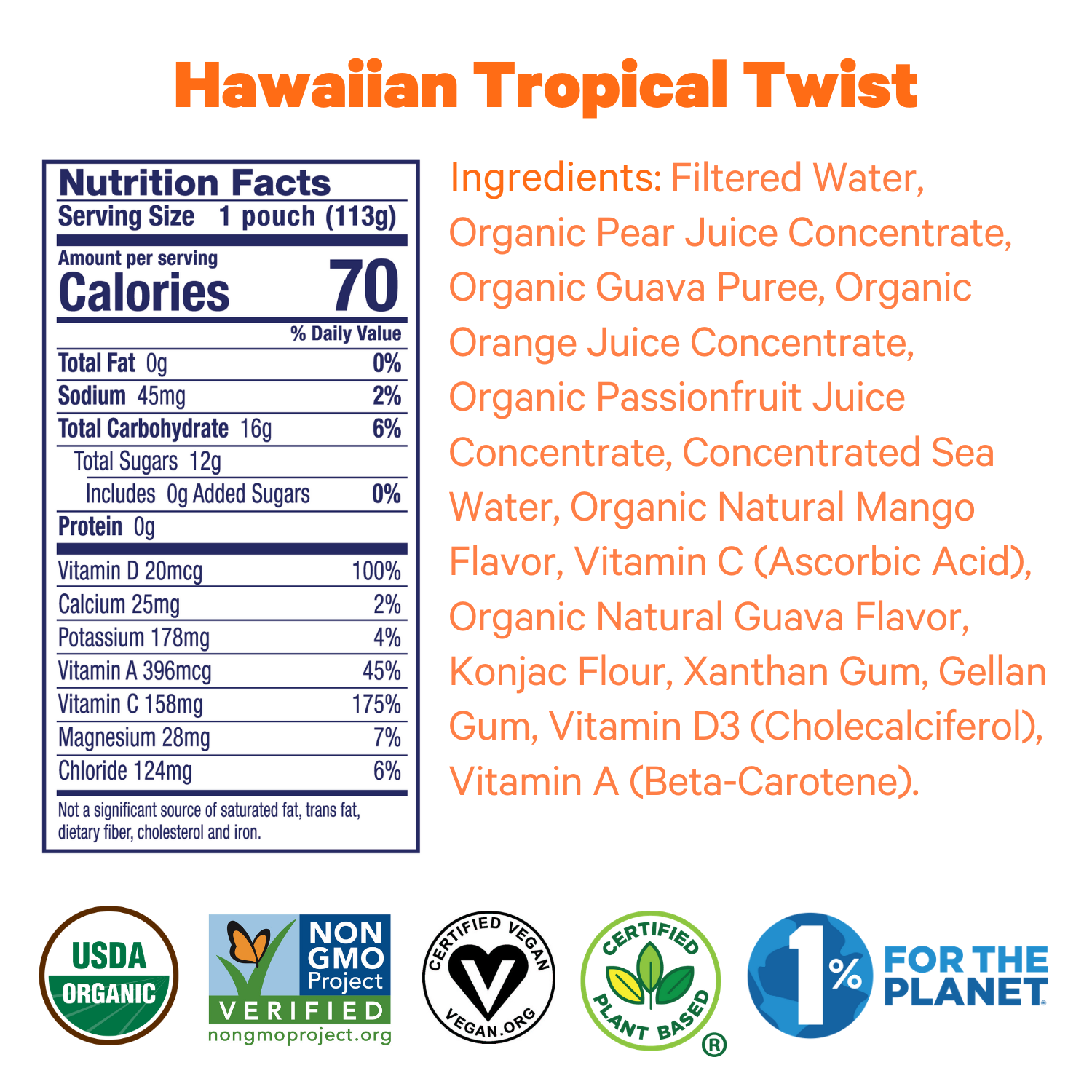 Zellee Organic Sports Jels ingredients and certifications for Hawaiian Tropical Twist