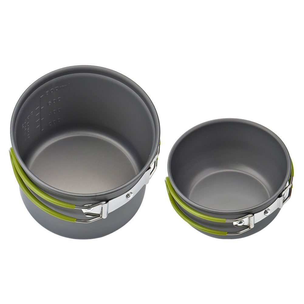 Outdoor Aluminum Pots Pans Bowls with Folding Handle - Camping Cookware Set