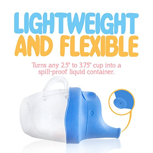 Silicone Sippy Cup Lid - Elephant Spout - Spill Proof for Toddlers & Babies