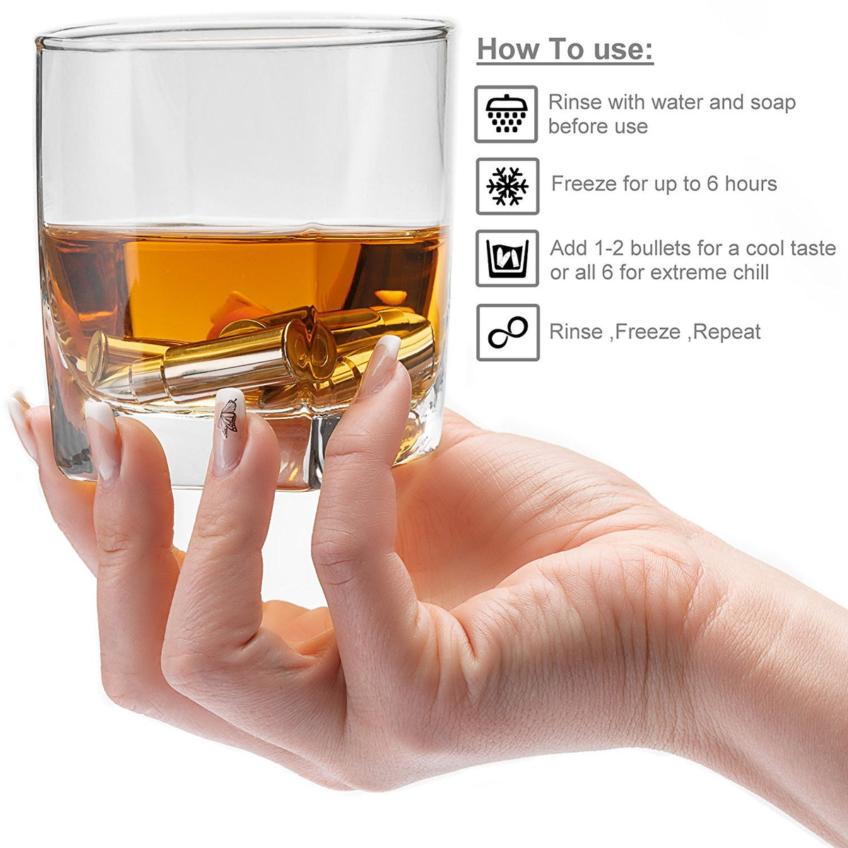 Stainless Steel Bullet-Shaped Ice Cubes - Whisky Stones