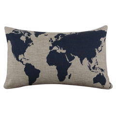 Decorative Throw Pillow - Burlap Linen Dark Blue World Map