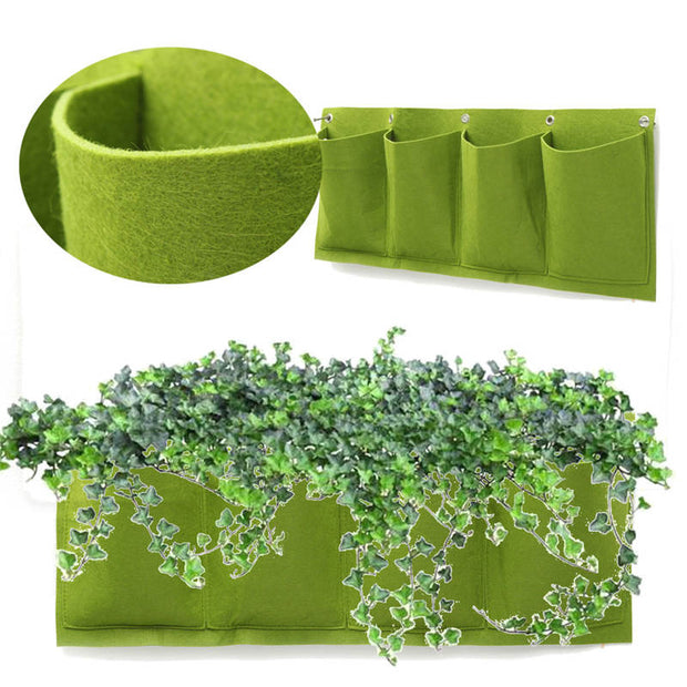 Wall Planter for Outdoor or Indoor Gardening - Hanging Wall Garden with 4 Pockets