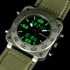Men's Watch - Sports Military Tactical - Quartz Watche with LED, Analog and Digital - Durable Nylon Strap