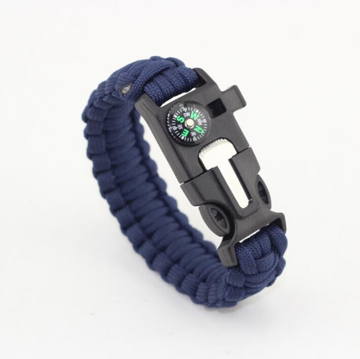 Emergency Paracord Bracelet - Fire Starter, Whistle, Compass & Scraper