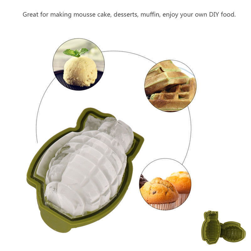 3D Grenade-Shaped Silicone Mold - Perfect for Ice, Chocolates, Cake, Jello and More