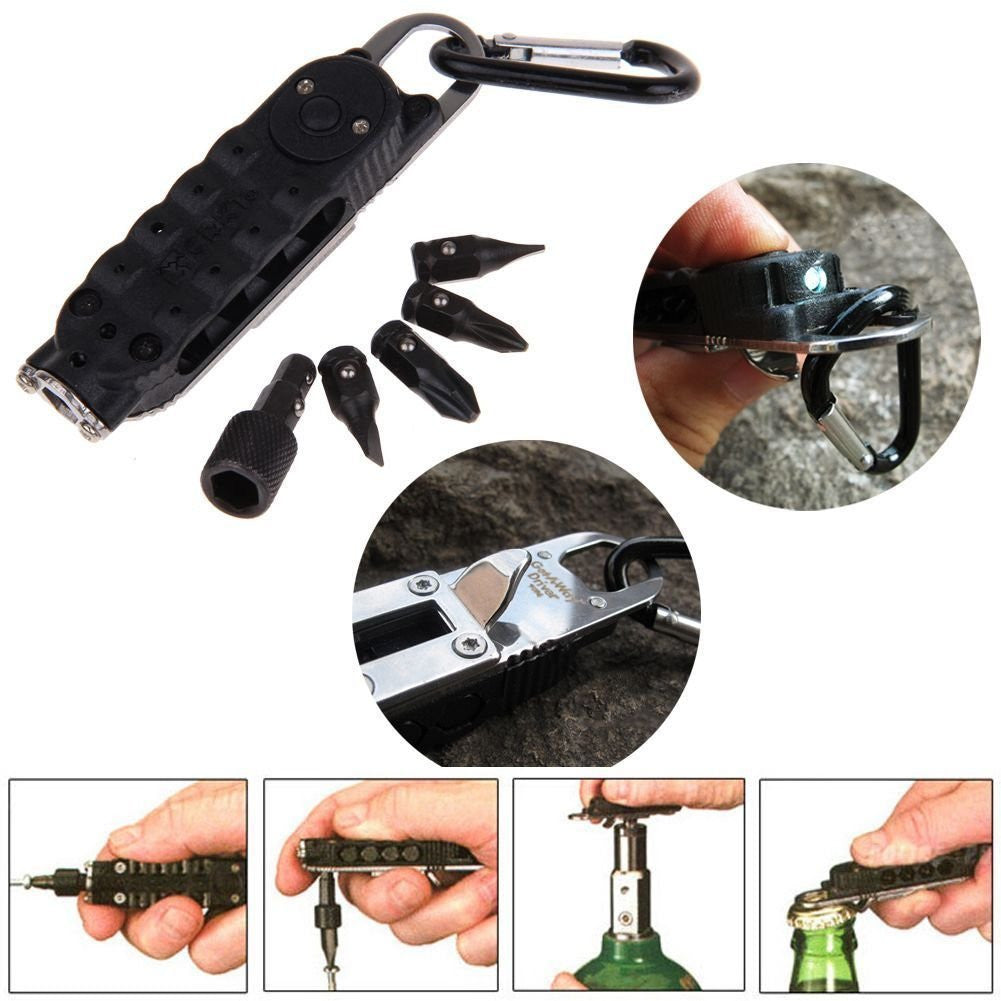 LED Light Outdoor Multi-Tool - Wrench Screwdriver Plier Opener Keychain
