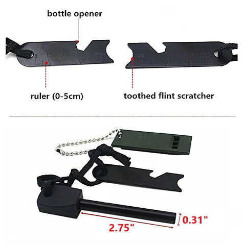 5 in 1 Magnesium Fire Starter Striker - Ferro Rod with Survival Whistle