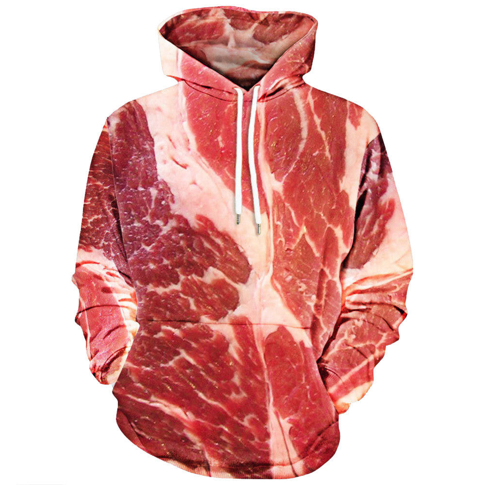 Unisex 3D Printed Raw Meat Pullover - Long Sleeve Hooded Sweatshirt