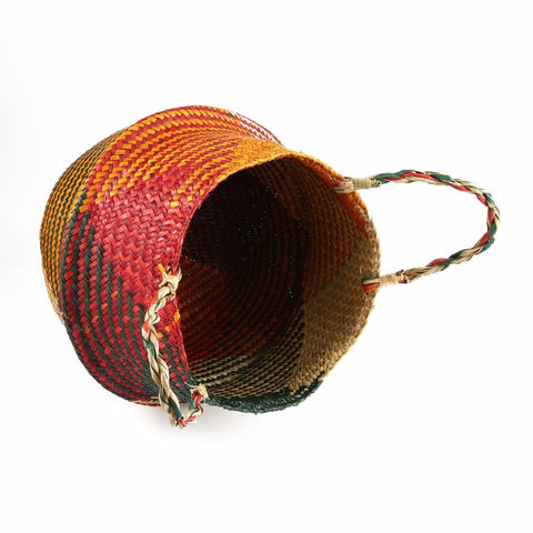 Foldable Seagrass Woven Tote - Great for Storage, Organizer or Garden Pot