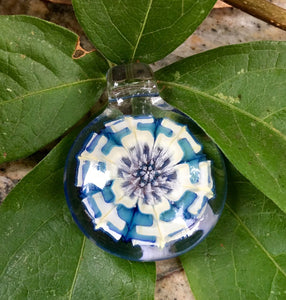 Ryan Coon Blue and White Star Flower Pendant
