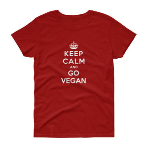 Vegan Women's T shirt Keep Calm And Go Vegan
