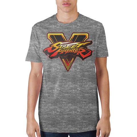 Street Fighter Logo Mens Gry T-Shirt - Masters Of Geek