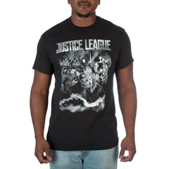Justice League B&W Photo Mens T-Shirt - Masters Of Geek