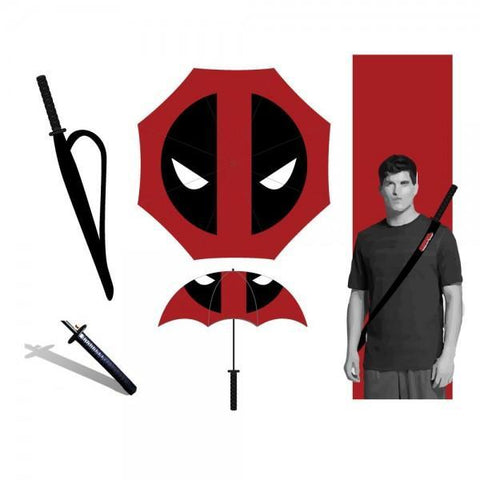 Marvel Deadpool Katana Umbrella - Masters Of Geek